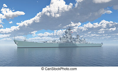American battleship of World War II - Computer generated 3D...