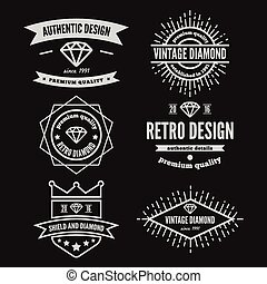 Set of vintage logo, label, badge and logotype elements for...