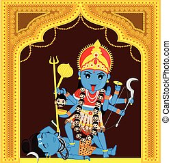 Maa Kali Standing Over Shiva Vector Illustration