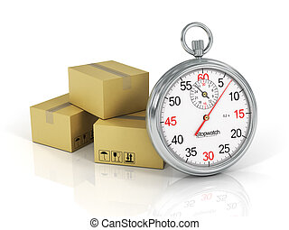 Express Delivery Concept. Cardboard Boxes with a Stopwatch...
