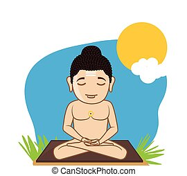 Lord Mahavira Concentrating Vector Illustration