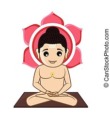 Lord Mahavira Cartoon God Vector Illustration
