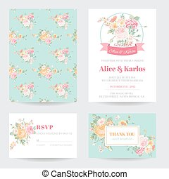 Invitation or Greeting Card Set - for Wedding, Baby Shower -...
