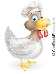 Chef, pollo, sombrero, caricatura