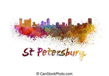 St Petersburg FL skyline in watercolor splatters with...