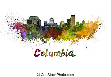 Columbia skyline in watercolor splatters with clipping path