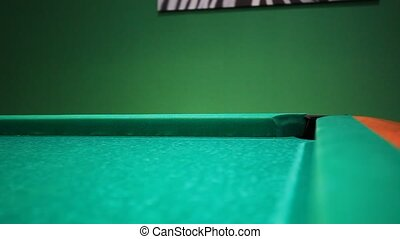 Lining To Hit Ball On Pool Table. Sound - Start Game -...