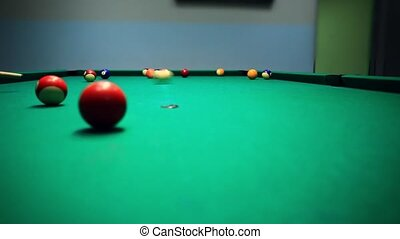Lining To Hit Ball On Pool Table HD 1920x1080