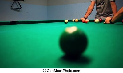 Lining To Hit Ball On Pool Table. Friends to Play Pool