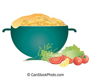 mac and cheese - a vector illustration in eps 10 format of a...