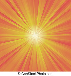 Illustration of colorful rays yellow, orange, red with white...