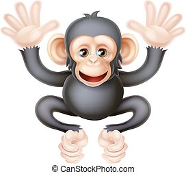 Cute Cartoon Baby Chimp