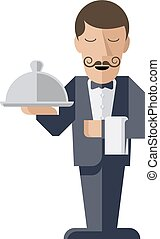 Waiter holding silver cloche - A welcoming stylised waiter...