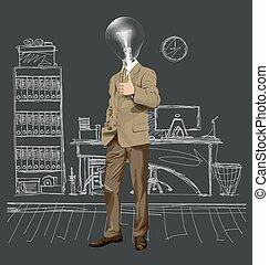 Vector Lamp Head Business Man Shows Well Done - Vector...