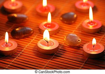 aromático, velas, guijas, balneario, Sesión