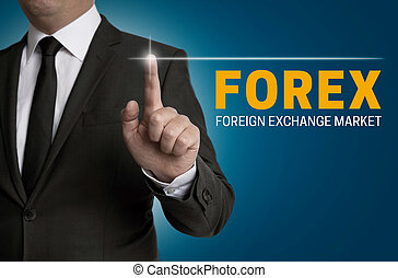 Forex touchscreen is operated by businessman.