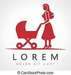 Mother with a baby carriage, vector