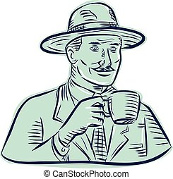 Man Fedora Hat Drinking Coffee Etching - Etching engraving...