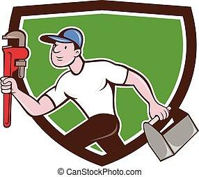 Plumber Running Toolbox Wrench Crest Cartoon - Illustration...