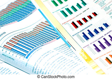 Business concept  - business magazines with charts and diagrams