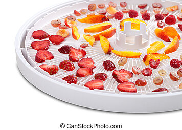 Slices of berries and fruits on dehydrator tray. Isolated on...
