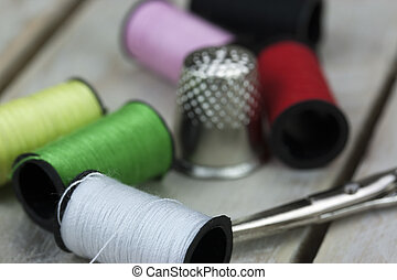 Sewing cotton needle and pins - Cotton neddle and pins left...