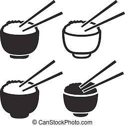 Set of bowl of rice with pair of chopsticks icon, vector