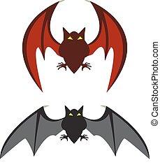 Red bat and black bat, vector