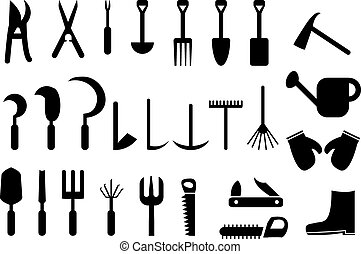 Set of Garden hand tools icons