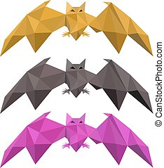 Set of low poly bat flying, vector