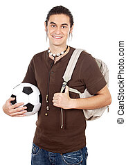 Student and sportsman a over white background