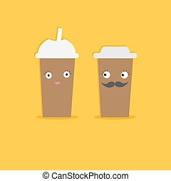 Two disposable coffee paper cups with eyes mustache and...