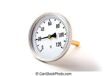 The round thermometer isolated on a white background