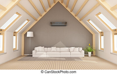 Modern attic with white sofa and wooden beams - 3D rendering