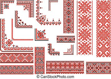 Red and Black Patterns for Embroide - Set of editable ethnic...