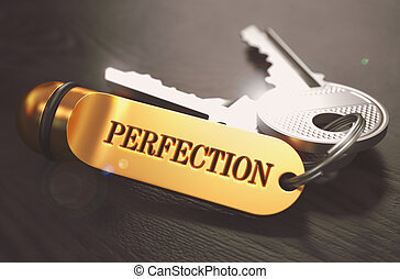 Perfection Concept. Keys with Golden Keyring. - Perfection...