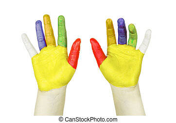 Colorful painted hands isolated on white.