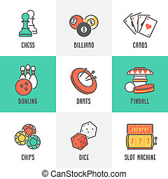 Sport and Leisure Games Icons - Casino Sport and Leisure...