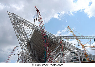 Stadium Roof Ridge Trusses - construction of roof ridge...