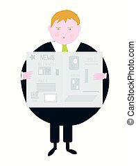 Newspaper and businessman caroon - funny style illustration