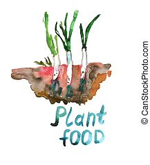 Plant food - agriculture and ecological illustration