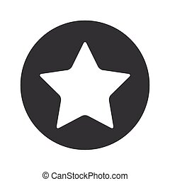 Monochrome round star icon - Image of star in black circle,...
