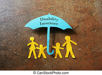 Disability Insurance - Paper family of four under a paper...
