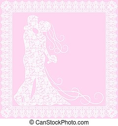 bride, groom and lace - Invitation or greetings card with...