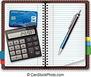 notebook - Calculator, pen, notebook, a credit card on a...