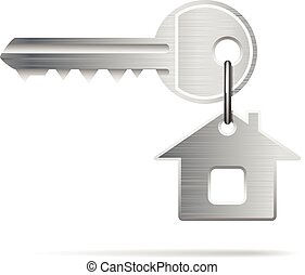 key house - House Key isolated on white. Illustration...