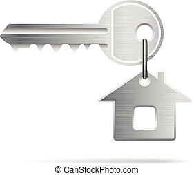 key house - House Key isolated on white. Illustration...