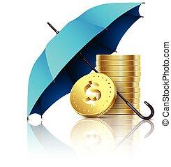 Umbrella and money.
