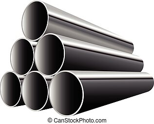 Steel Pipes isolated on white background Vector illustration...