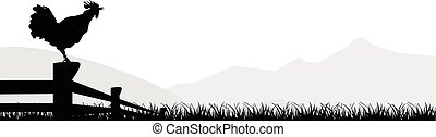cock standing silhuette design vector rooster isolated -...